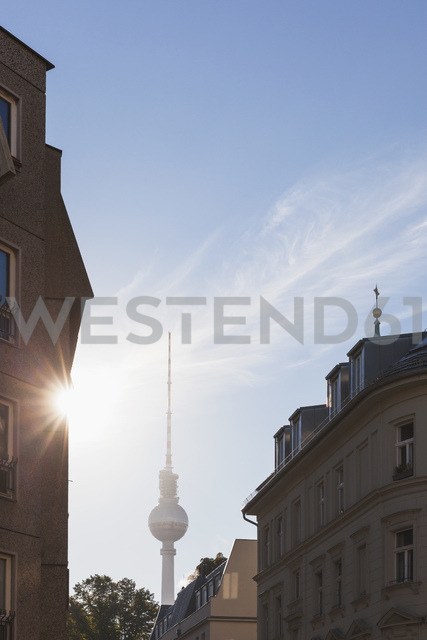 Germany, Berlin, view to television tower at backlight - GWF05447