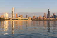 USA, Illinois, Chicago, Lake Michigan, cityscape in the morning light - FOF09947