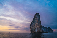 Thailand, Phi Phi Islands, Ko Phi Phi, island in the sea at sunset - KKAF00882