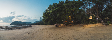 Thailand, Phi Phi Islands, Ko Phi Phi, beach resort at sunset - KKAF00906