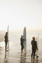 Older surfers holding boards on beach - CAIF00877