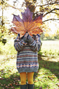 Girl playing with autumn leaf outdoors - CAIF00907