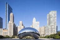 USA, Illinois, Chicago, Skyline, Millenium Park, Cloud Gate, The Big Bean, - FO09956
