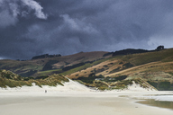 New Zealand, South Island, Dunedin, Otago Peninsula, dark clouds over Tomahawk Beach - MRF01760