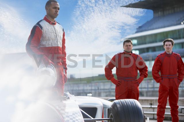 Race team around car on track - CAIF01794