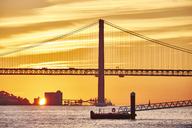 Portugal, Lisbon, Ponte 25 de Abril, River Tagus at sunrise - MRF01829