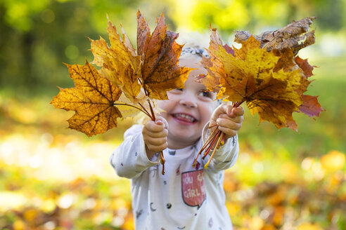 Happy little girl holding autumnal leaves - WWF04197