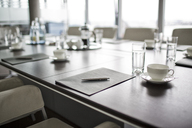 Table set for meeting in office - CAIF01827