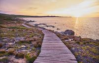 Italy, Sardinia, Lu Litarroni, coast, wooden boardwalk at sunset - MRF01893