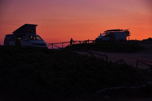 Italy, Sardinia, Rena Majori, Camper at sunset - MRF01899