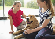 Girls relaxing with dog in living room - CAIF02188