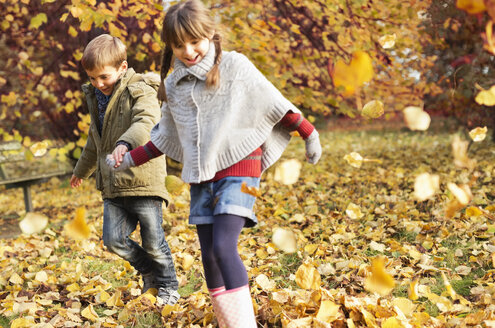 Children playing in autumn leaves - CAIF02380
