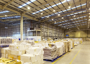 Pallets of boxes in warehouse - CAIF02766