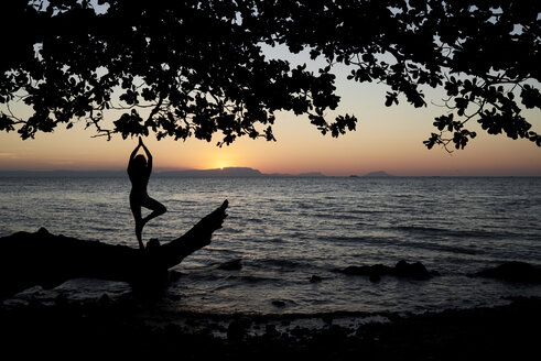 Young woman practicing yoga on a fallen tree in the sea at sunset - IGGF00447