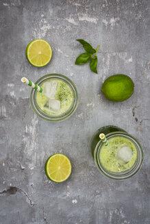 Two glasses of organic lime lemonade with basil - LVF06754