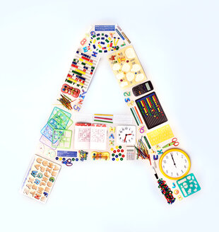 Still life concept school supplies forming letter A - CAIF04127