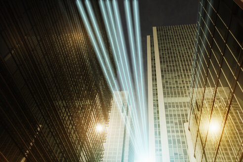 Fiber optic light trail communication technology streaming through highrise buildings, concept - CAIF04166