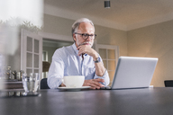 Portrait of mature man sitting at table using laptop at home - UUF12921