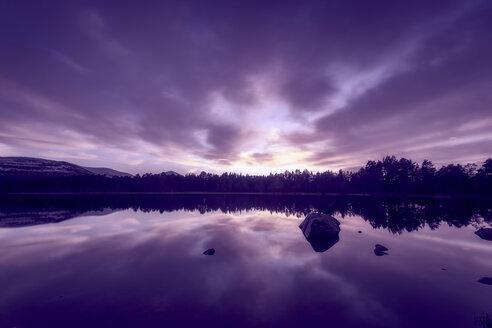 United Kingdom, Scotland, Highlands, Cairngorms National Park, Loch Morlich at sunset - SMAF00955