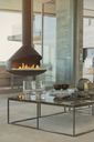 Modern fireplace hanging in luxury home showcase living room - HOXF00171