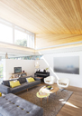 Slanted wood ceiling over living room - HOXF00294