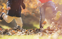 Playful boys kicking autumn leaves - HOXF00636