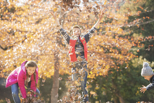 Playful boys and girl running and jumping in autumn leaves - HOXF00654
