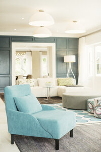 Turquoise armchair in luxury living room - HOXF00777