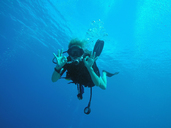 Portrait of confident scuba diver gesturing okay underwater - HOXF00795