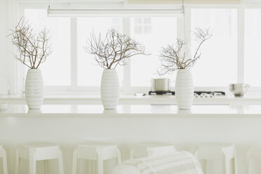 Modern white dining table with white vases and branches - HOXF00951