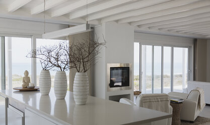 Modern white vases with branches on kitchen island in beach house - HOXF00954