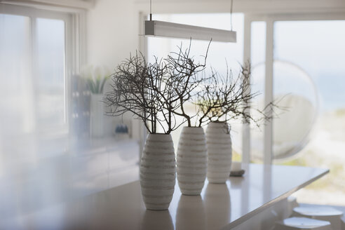 Modern white vases with branches on kitchen island - HOXF00966