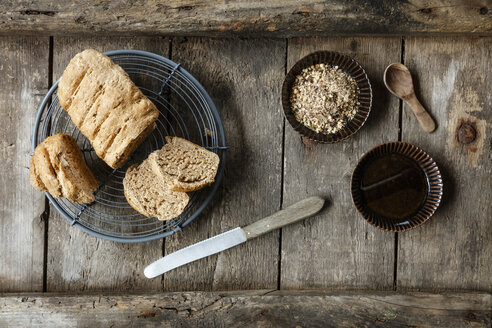 Traditionally Egyptian nut spice blend dukkah with bread and olive oil - EVGF03299