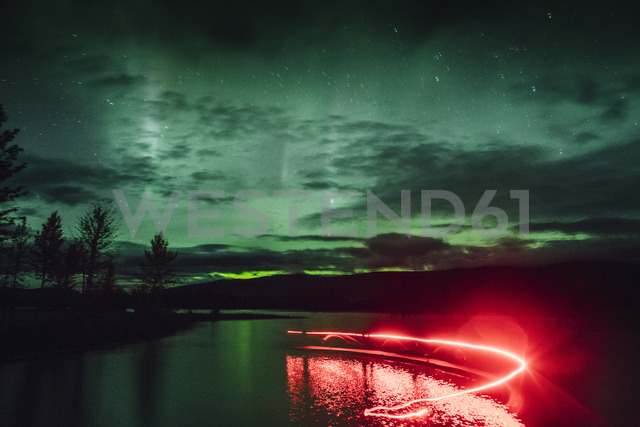 Canada, British Columbia, Boya Lake, Boya Lake Provincial Park, Northern Lights, starry sky at night, light painting - GUSF00382