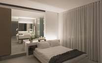 Illuminated modern, luxury home showcase interior bedroom - HOXF01094