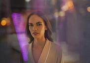 Portrait beautiful, sensual brunette woman in bathrobe - HOXF01259