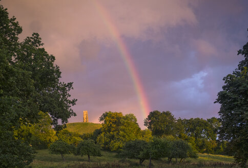 Tranquil rainbow over rural countryside park - HOXF01439