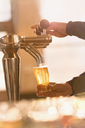 Bartender filling pint glass with beer at beer tap in bar - HOXF01478