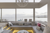 Modern luxury home showcase interior living room with ocean view - HOXF02156