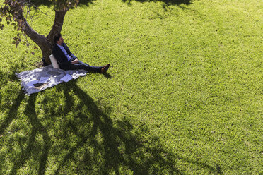 Serene businessman relaxing on blanket below tree in sunny park - HOXF02294