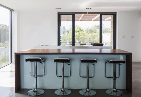 Simple, modern home showcase interior kitchen island with barstools - HOXF02312