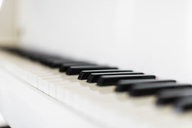 Close up black and white piano keys - HOXF02384