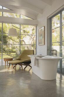 Soaking tub in luxury home showcase hotel bedroom - HOXF02417