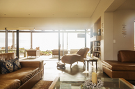 Sunny home showcase living room with open patio doors - HOXF03308