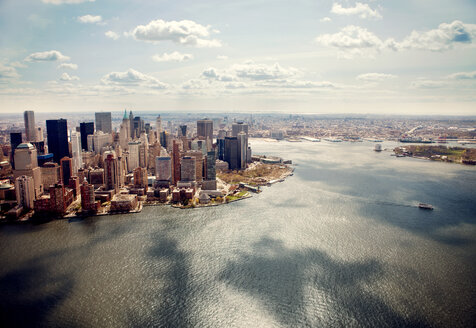 High angle view of cityscape by sea against sky - CAVF00470