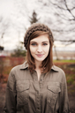 Portrait of beautiful woman with brown hair wearing knit hat - CAVF00737