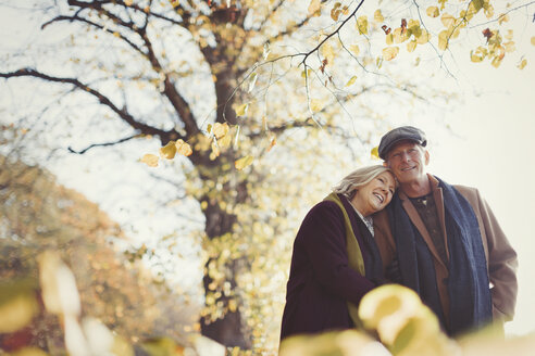 Affectionate senior couple hugging in sunny autumn park - CAIF05308