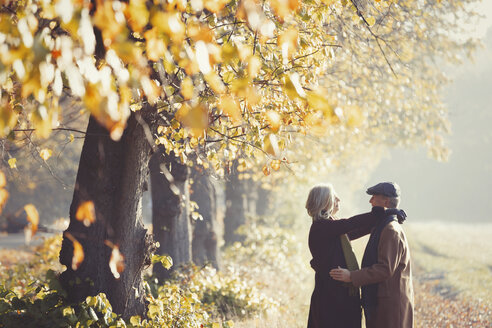 Affectionate couple in sunny autumn park - CAIF05311