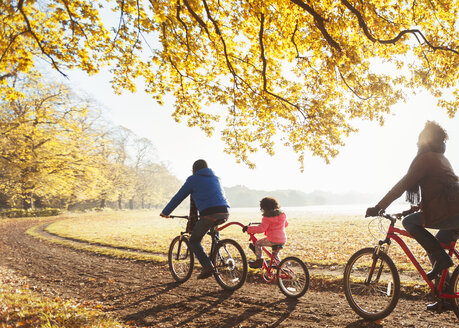 Young family bike riding on path in sunny autumn woods - CAIF05332
