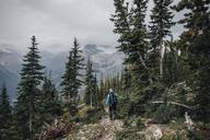 Canada, British Columbia, Yoho National Park, man hiking at Mount Burgess - GUSF00463